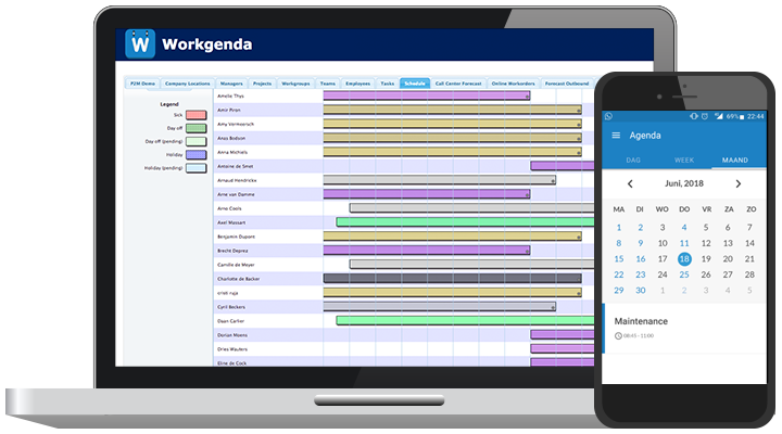 Workgenda software screenshot, displayed on a laptop and smartphone.